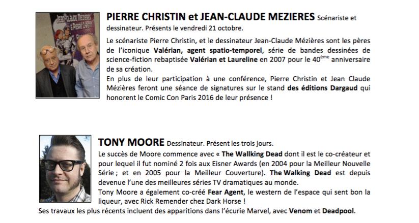Comic con Paris 2016 Invités